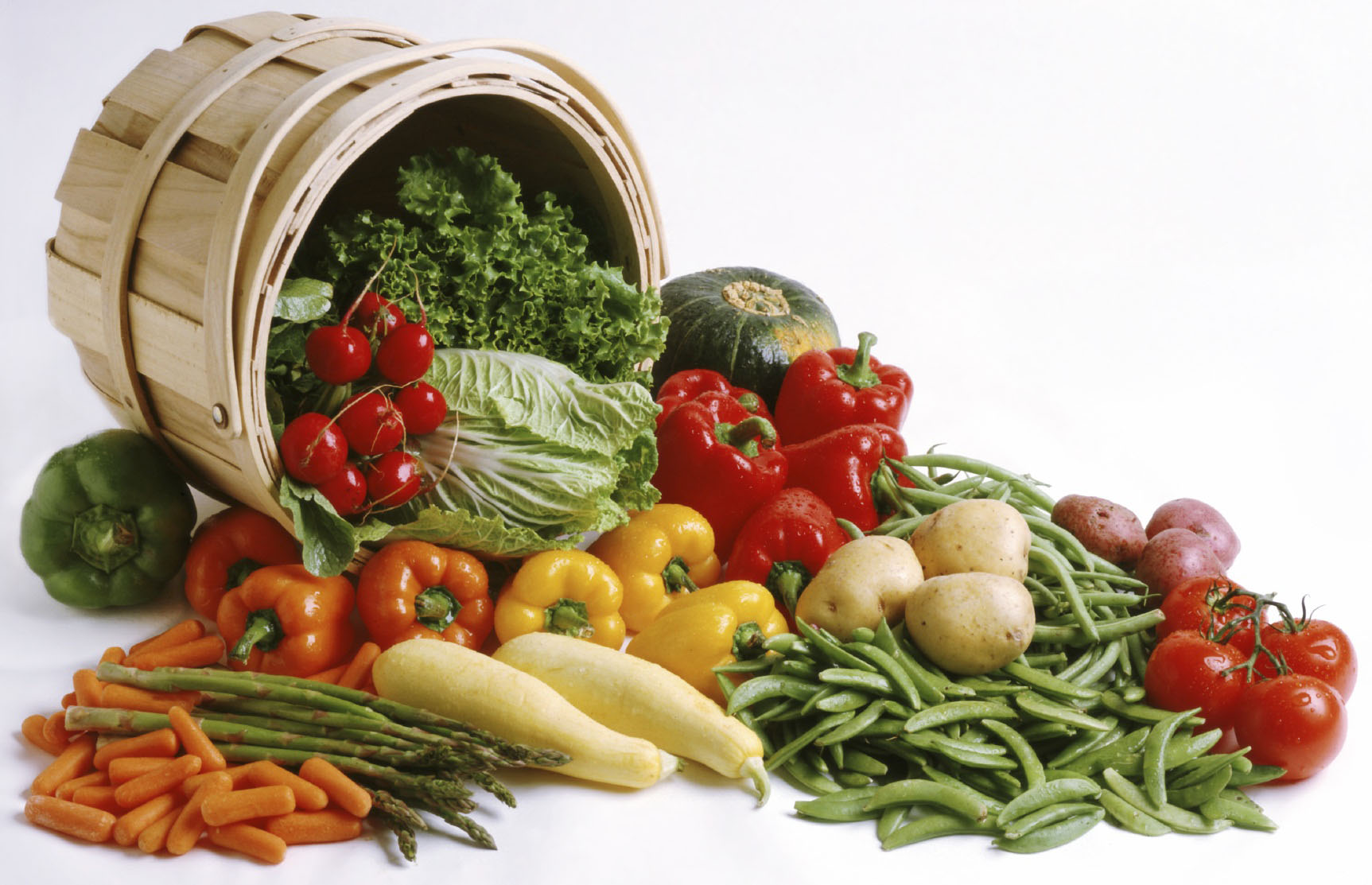 vegetables in wooden basket