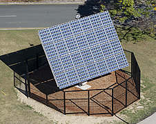 Aerial view of rotating solar concentrating dish