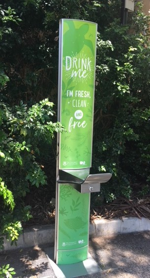"""Drink Me"" water refill station on campus"
