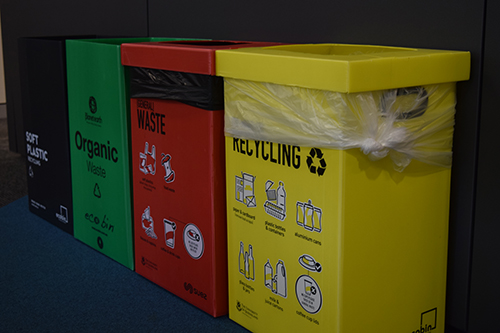Recycling hub of coloured bins