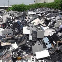 Piles of discarded computers and e-waste