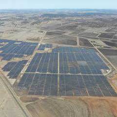 Aerial view of the solar panels at the UQ Warwick Solar Farm