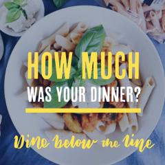Promotional image for the event How Much was your dinner (text over plate)