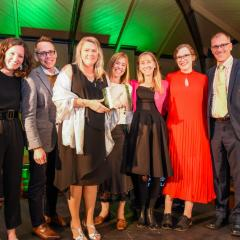 The team from UQ Sustainability holding the GreenGown Award for UQ Warwick Solar Farm