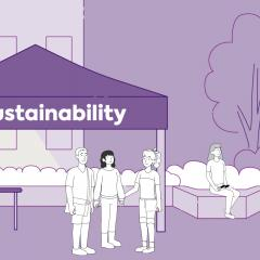 Cartoon image of the UQ Sustainability team welcoming students to campus