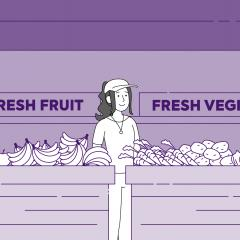 Cartoon images of a fruit and vegetable stall