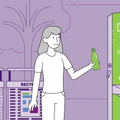 Cartoon image of a person filling a water bottle at a UQ Drink Me station