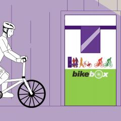 Cartoon image of a person cycling into a UQ Bikebox