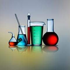 Colourful chemical test tubes and flasks
