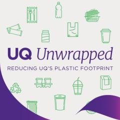 UQ Unwrapoed logo 'Reducing UQ's plastic footprint'