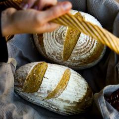 Basket of freshly baked sourdough bread