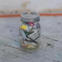 Soft plastics in a glass jar