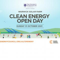 Warwick Solar Farm Clean Energy Open day graphic with solar panels, hills and visitors