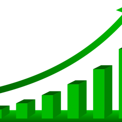 Green bar graph rising from left to right with an arrow showing increase